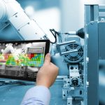 Industry 4.0 concept .Man hand holding tablet with Augmented rea