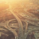 Aerial Drone Flight View of freeway heavy traffic