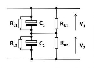 Balancing resistors ensures equal voltages across output capacitors