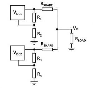 Balancing resistors share load between DC-DC converters