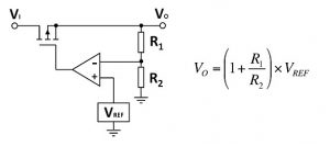 Simplified diagram of a linear series regulator