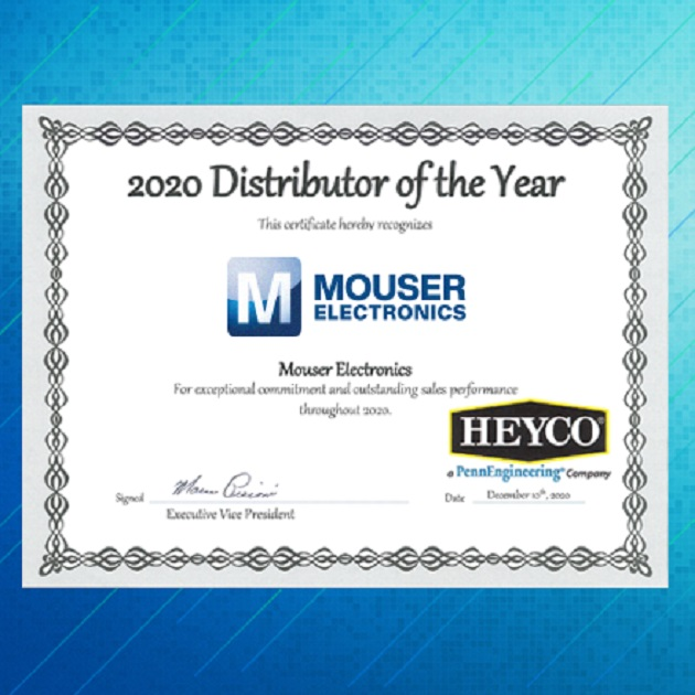 Mouser Electronics Named Global Distributor of the Year