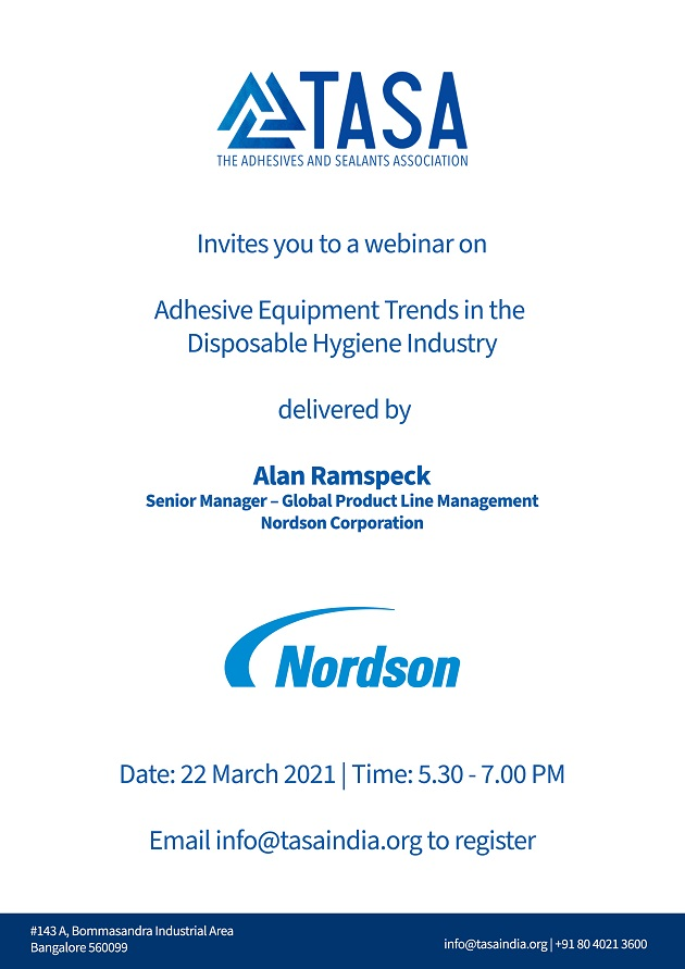 A Webinar on Adhesive Equipment Trends in the Disposable Hygiene Industry by TASA