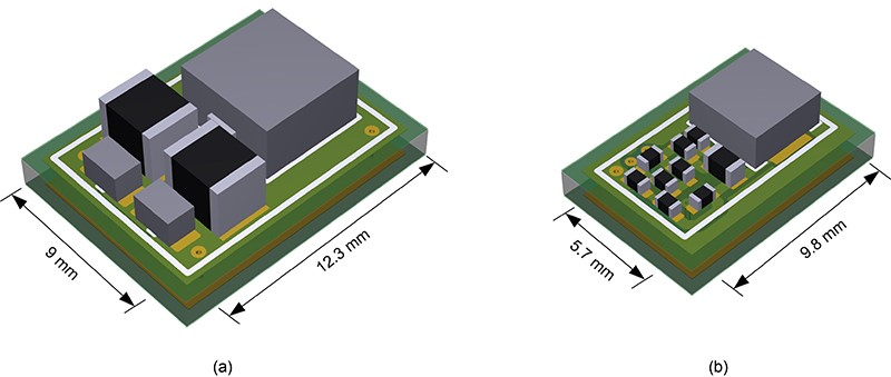 PCB layout size comparison of passive (a) and active (b) filter designs